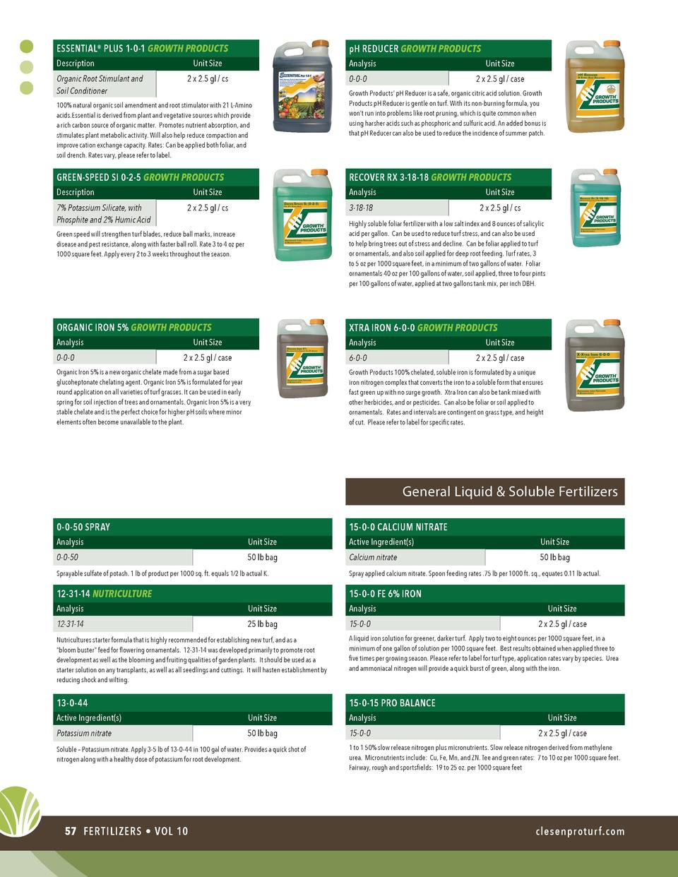 ESSENTIAL   PLUS 1-0-1 GROWTH PRODUCTS  pH REDUCER GROWTH PRODUCTS  Description  Analysis  Organic Root Stimulant and Soil...