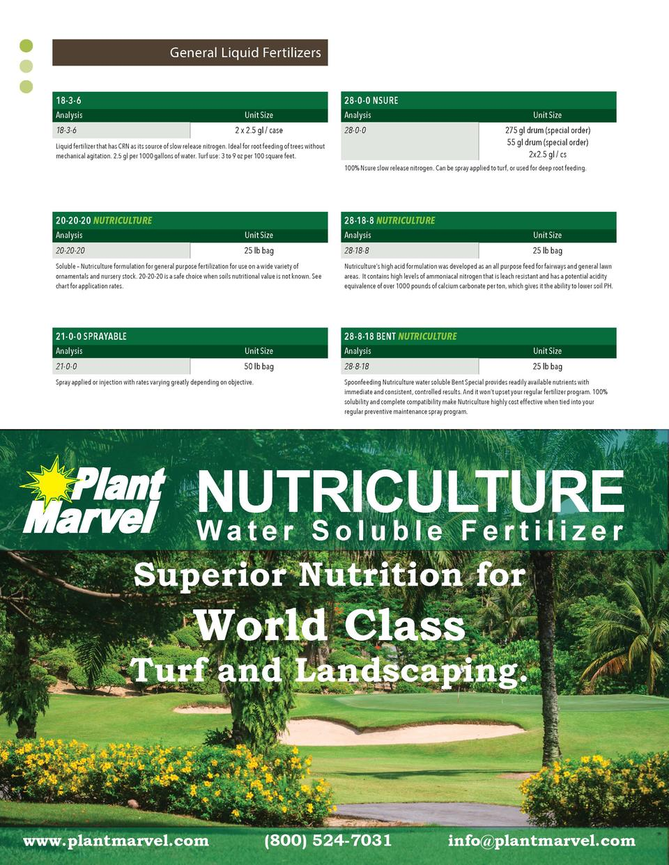 General Liquid Fertilizers 28-0-0 NSURE  18-3-6 Analysis  Unit Size 2 x 2.5 gl   case  18-3-6  Analysis  Unit Size 275 gl ...