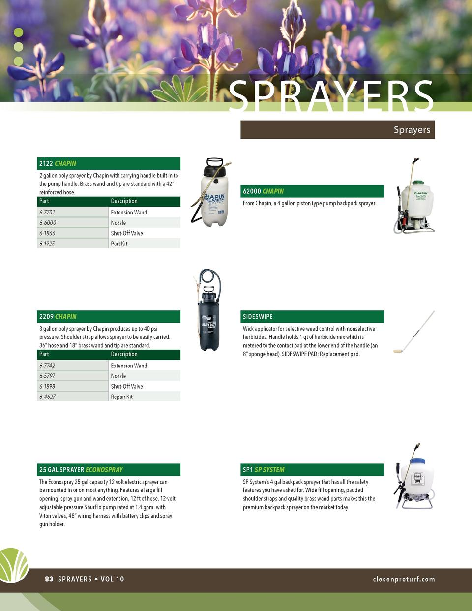 sprayers Sprayers  2122 CHAPIN 2 gallon poly sprayer by Chapin with carrying handle built in to the pump handle. Brass wan...