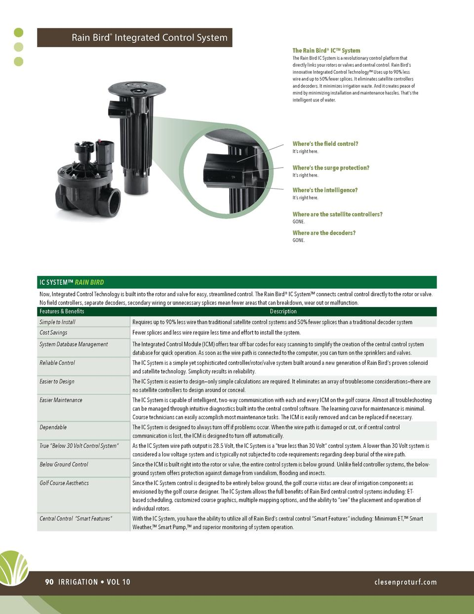 Rain Bird   Integrated Control System The Rain Bird   IC    System  The Rain Bird IC System is a revolutionary control pla...
