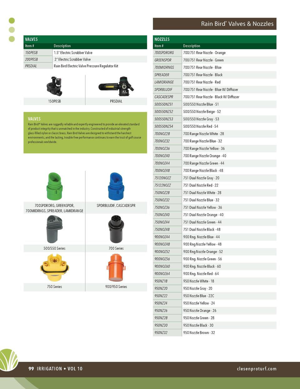 Rain Bird   Valves   Nozzles NOZZLES  VALVES Item    Description  Item    Description  150PESB  1.5    Electric Scrubber V...