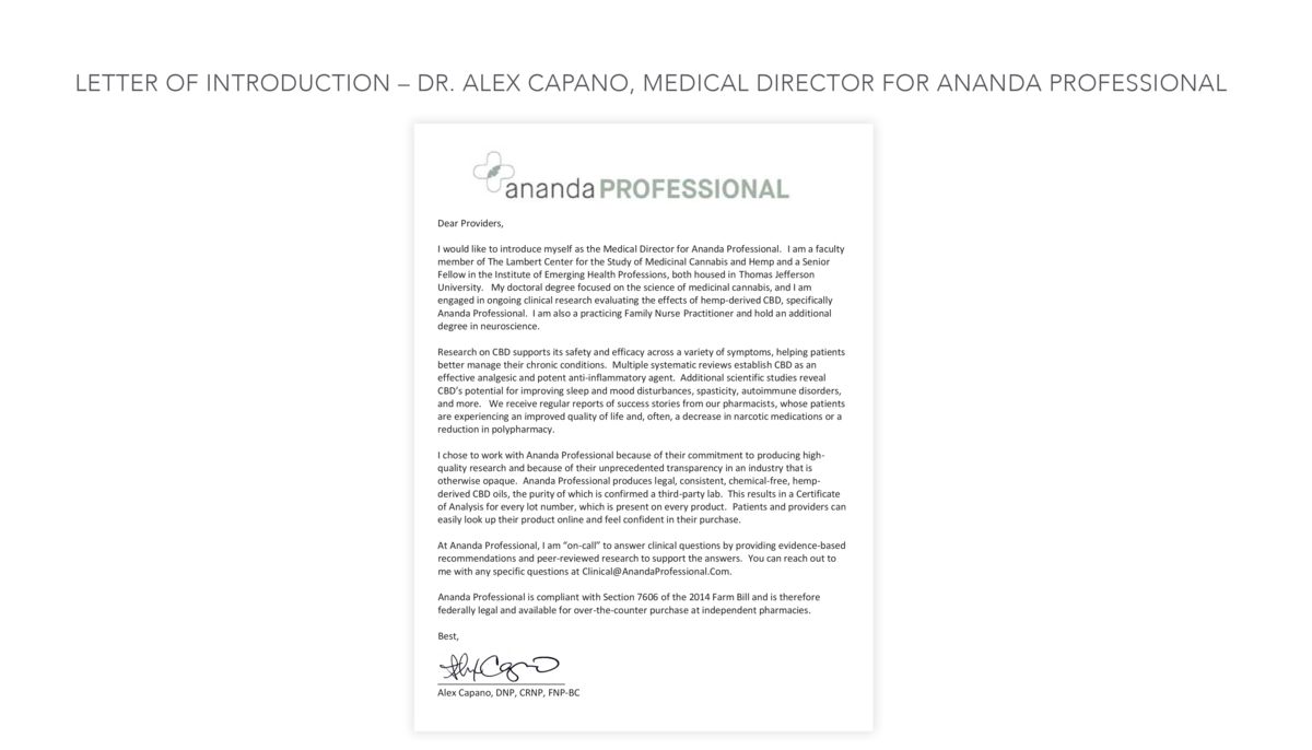 LETTER OF INTRODUCTION     DR. ALEX CAPANO, MEDICAL DIRECTOR FOR ANANDA PROFESSIONAL