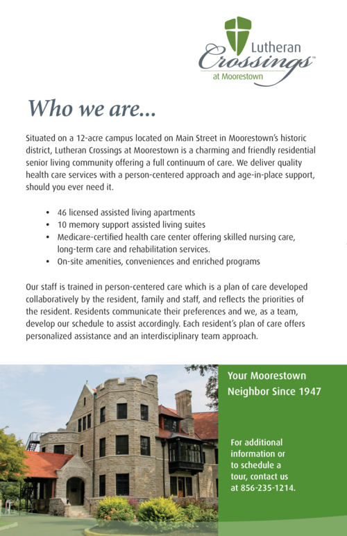 Who we are...  Your Moorestown Neighbor Since 1947  Situated on a 12-acre campus located on Main Street in Moorestown   s ...