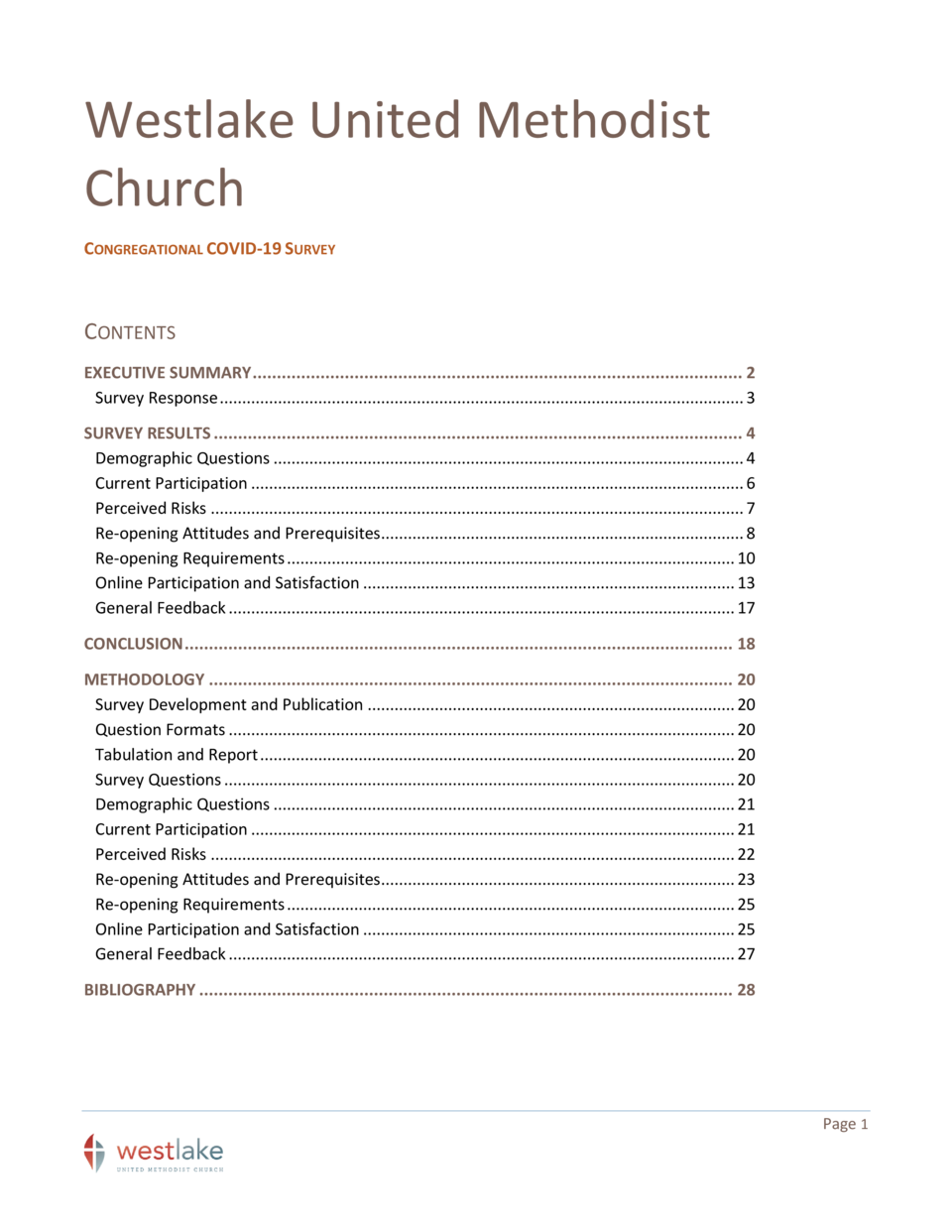 Westlake United Methodist Church CONGREGATIONAL COVID-19 SURVEY  CONTENTS EXECUTIVE SUMMARY .................................