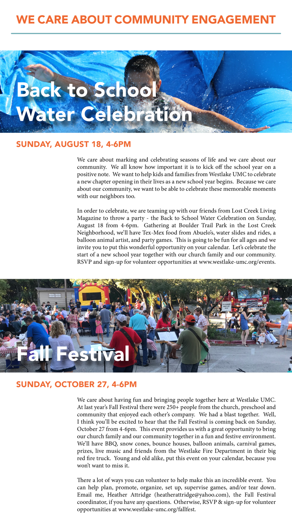 WE CARE ABOUT COMMUNITY ENGAGEMENT  Back to School Water Celebration SUNDAY, AUGUST 18, 4-6PM We care about marking and ce...