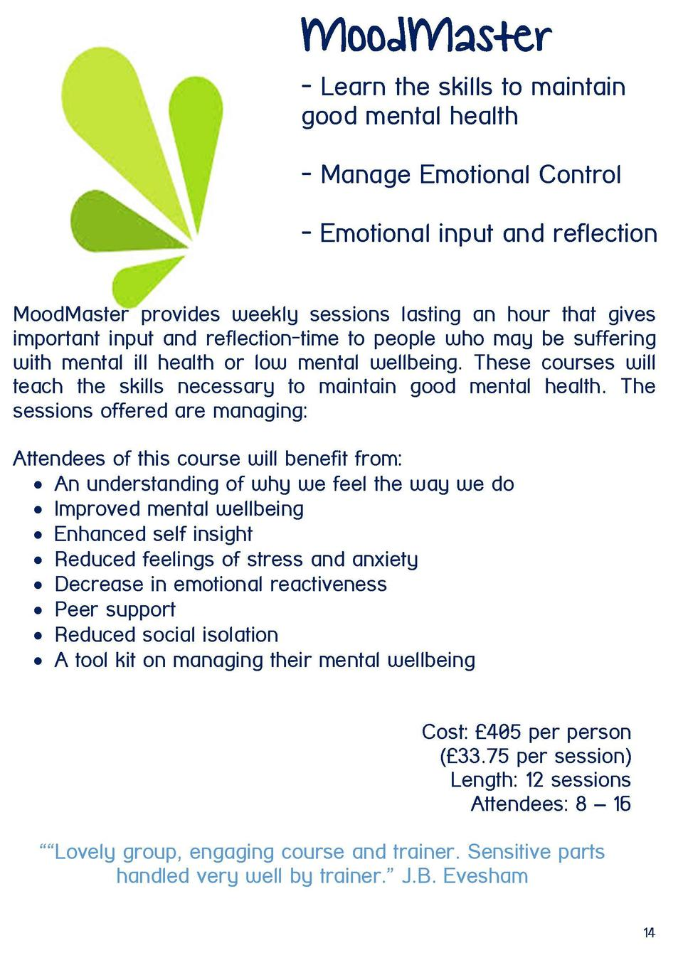 MoodMaster - Learn the skills to maintain good mental health - Manage Emotional Control - Emotional input and reflection M...