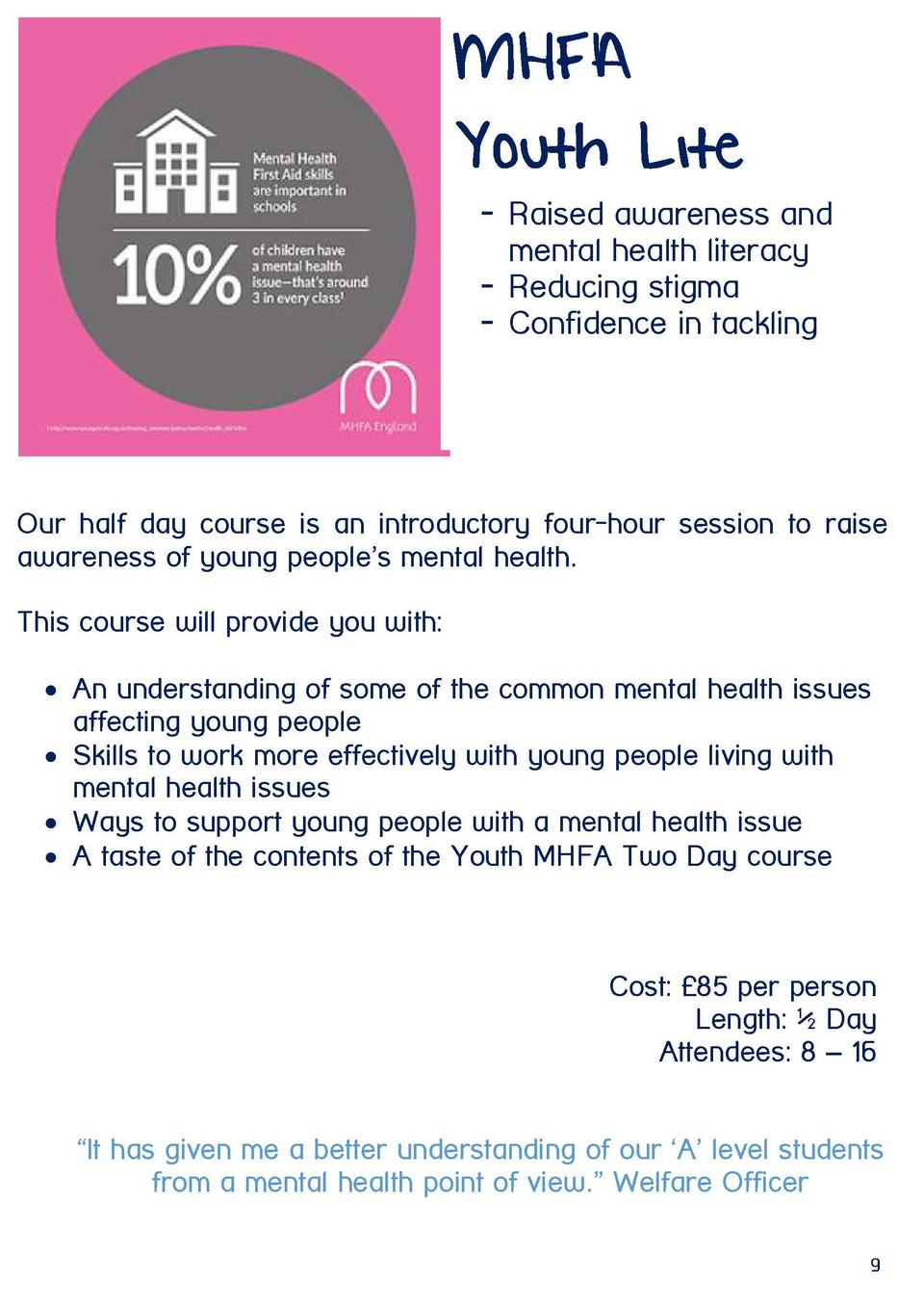 MHFA Youth Lite  From hoarder to order  - Raised awareness and mental health literacy - Reducing stigma - Confidence in ta...
