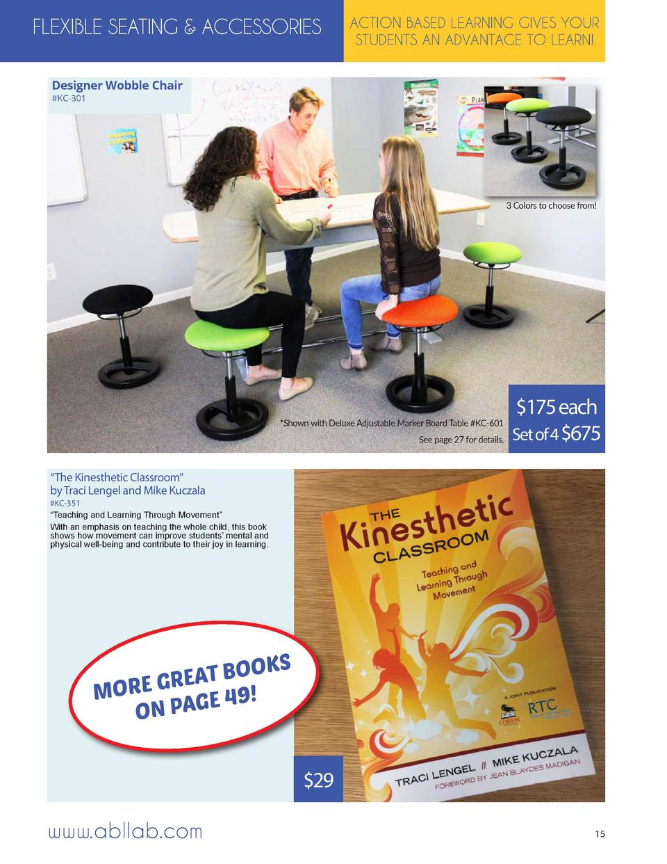 FLEXIBLE SEATING   ACCESSORIES  ACTION BASED LEARNING GIVES YOUR STUDENTS AN ADVANTAGE TO LEARN   Designer Wobble Chair  K...