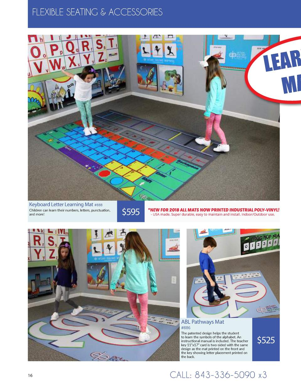 FLEXIBLE SEATING   ACCESSORIES  LEAR MA  Keyboard Letter Learning Mat  888 Children can learn their numbers, letters, punc...