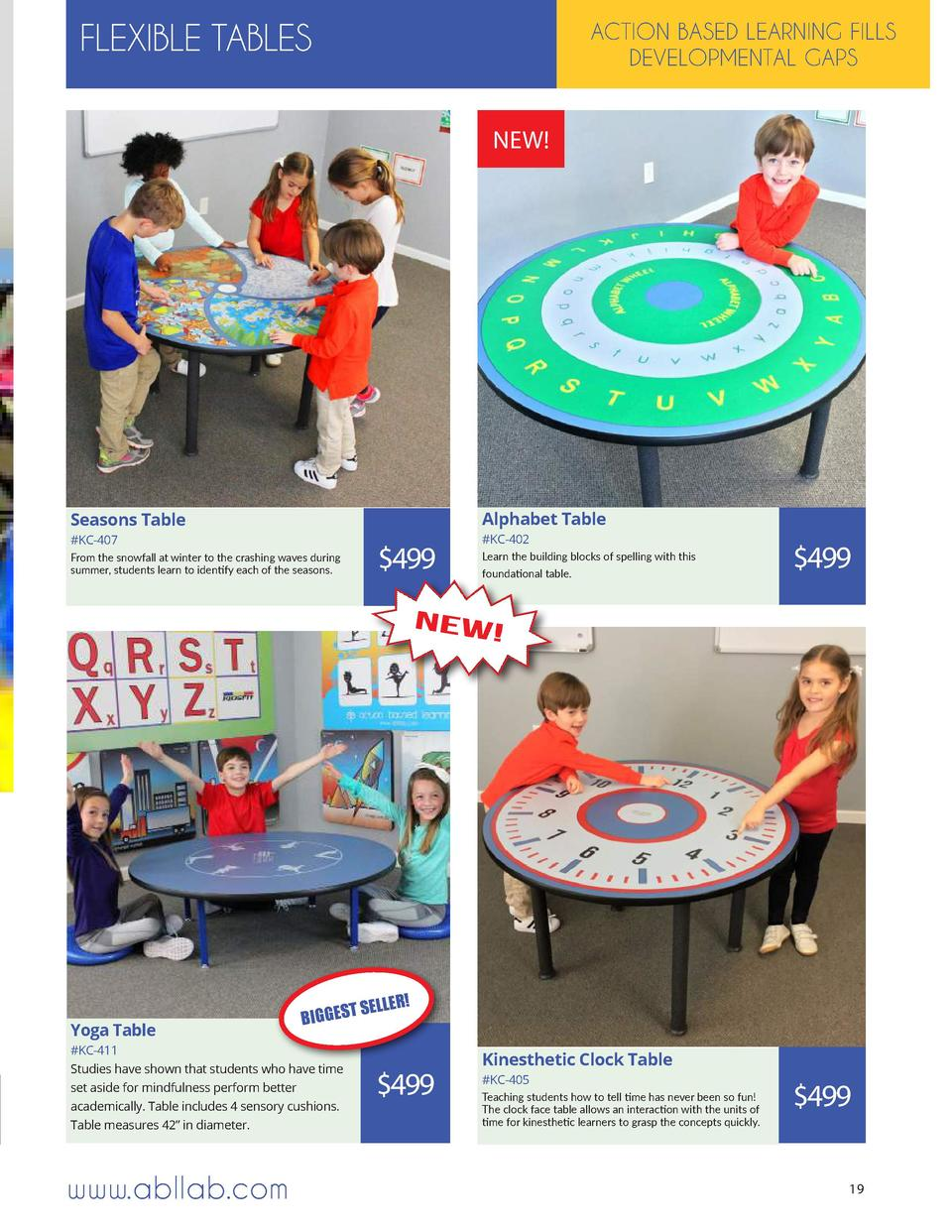 FLEXIBLE TABLES  ACTION BASED LEARNING FILLS DEVELOPMENTAL GAPS  NEW   Alphabet Table  Seasons Table  KC-407 From the snow...
