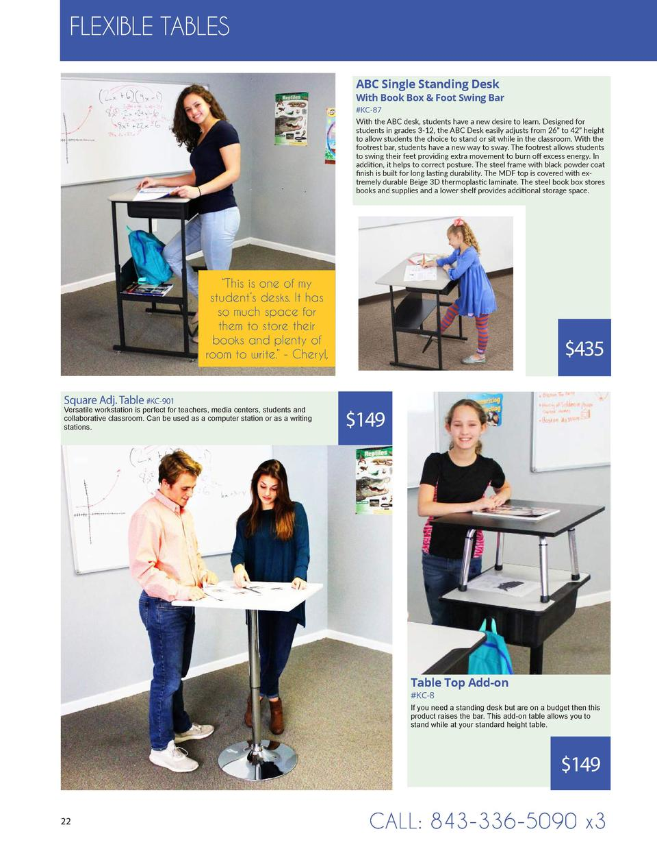 FLEXIBLE TABLES ABC Single Standing Desk  With Book Box   Foot Swing Bar  KC-87 With the ABC desk, students have a new des...