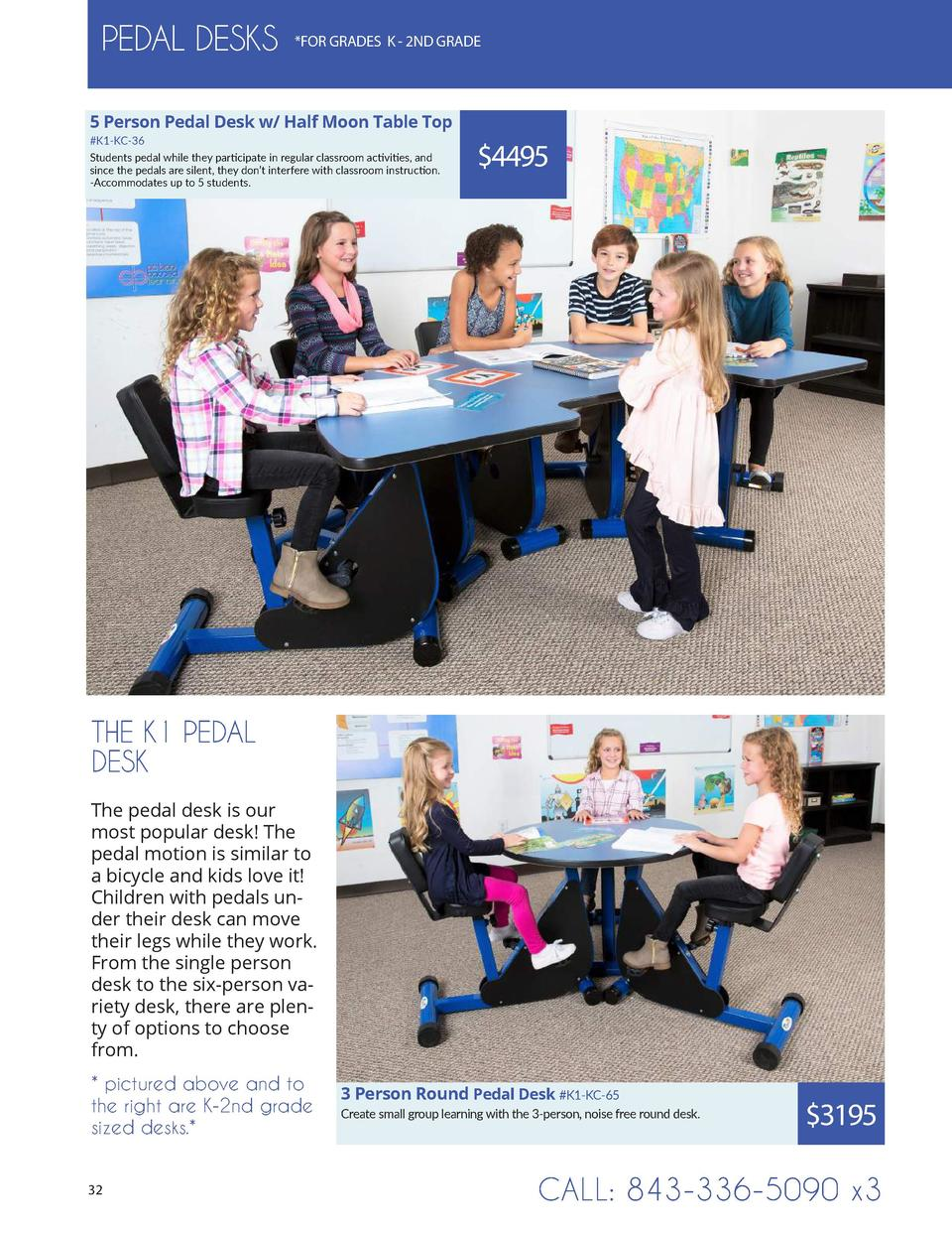 PEDAL DESKS   FOR GRADES K - 2ND GRADE  5 Person Pedal Desk w  Half Moon Table Top  K1-KC-36 Students pedal while they par...