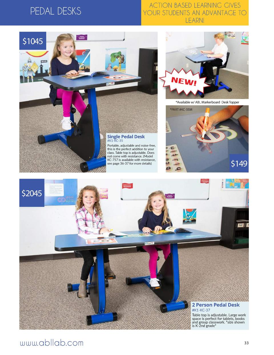 ACTION BASED LEARNING GIVES YOUR STUDENTS AN ADVANTAGE TO LEARN   PEDAL DESKS  1045   Available w  ABL Markerboard Desk To...