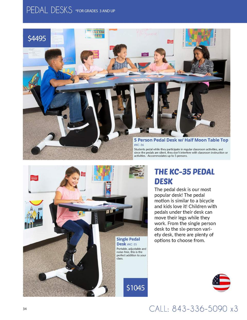 PEDAL DESKS   FOR GRADES 3 AND UP   4495  5 Person Pedal Desk w  Half Moon Table Top  KC-36 Students pedal while they part...