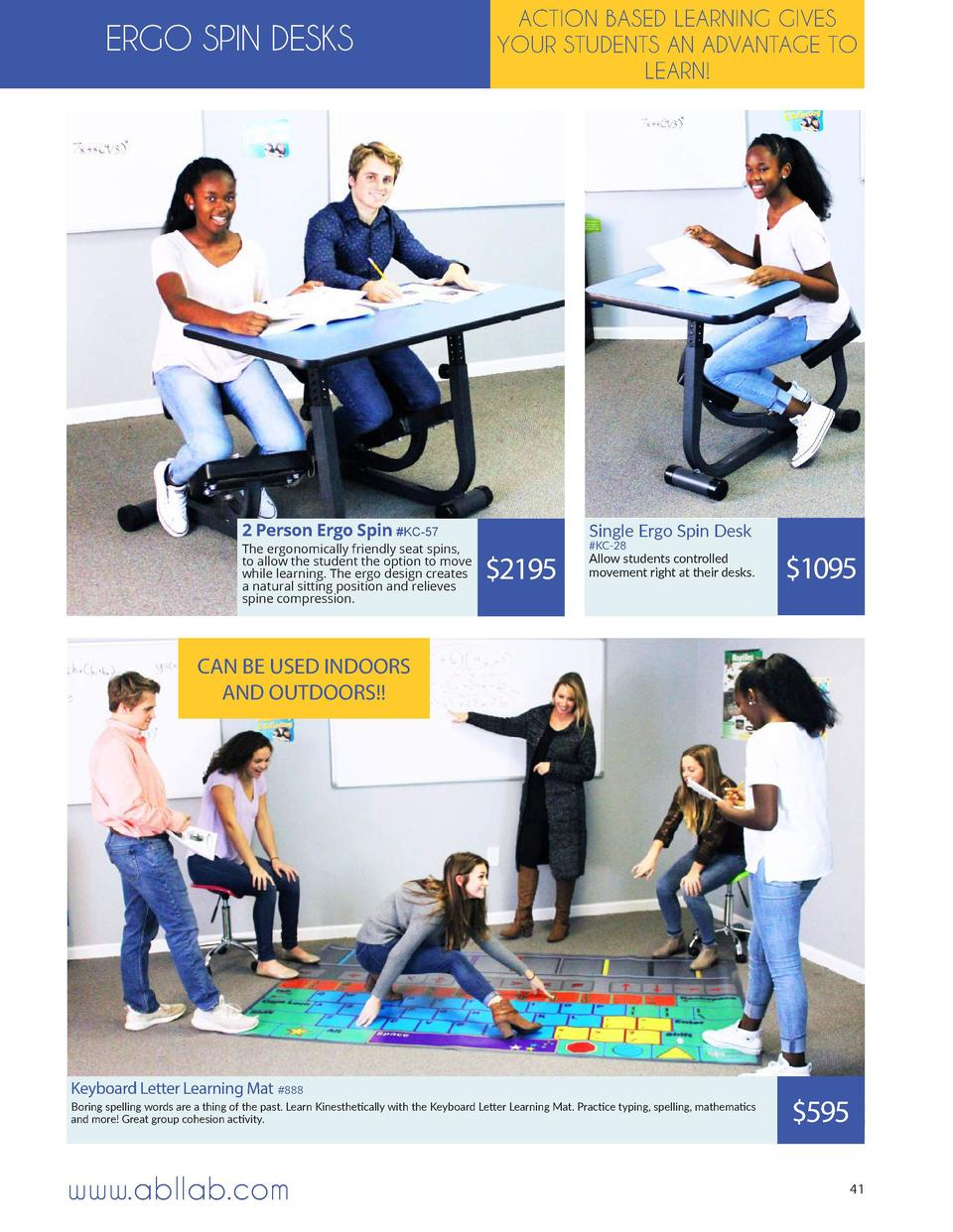 ERGO SPIN DESKS  ACTION BASED LEARNING GIVES YOUR STUDENTS AN ADVANTAGE TO LEARN   2 Person Ergo Spin  KC-57  The ergonomi...