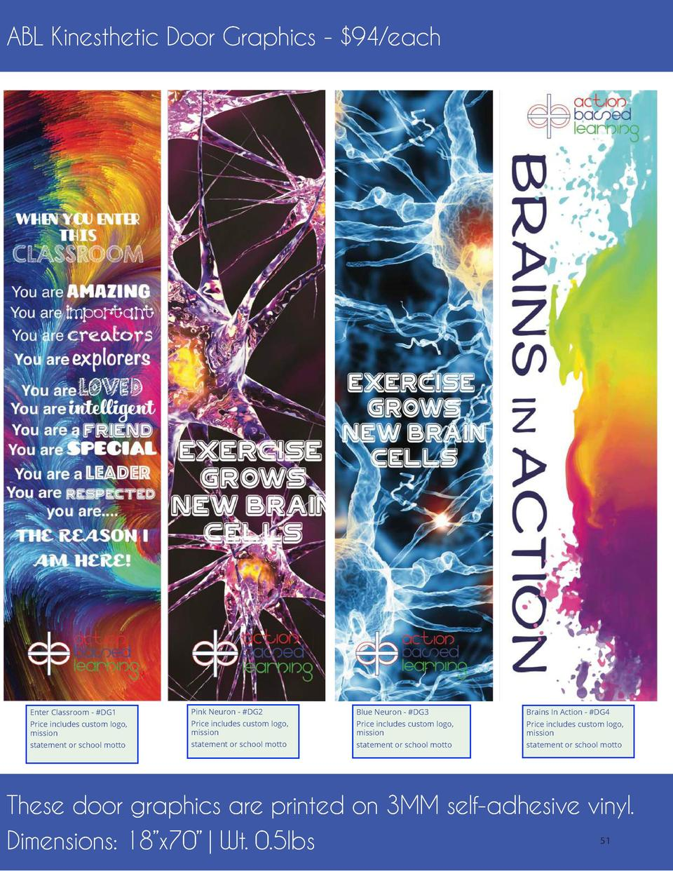 ABL Kinesthetic Door Graphics -  94 each  Enter Classroom -  DG1  Pink Neuron -  DG2  Blue Neuron -  DG3  Brains In Action...