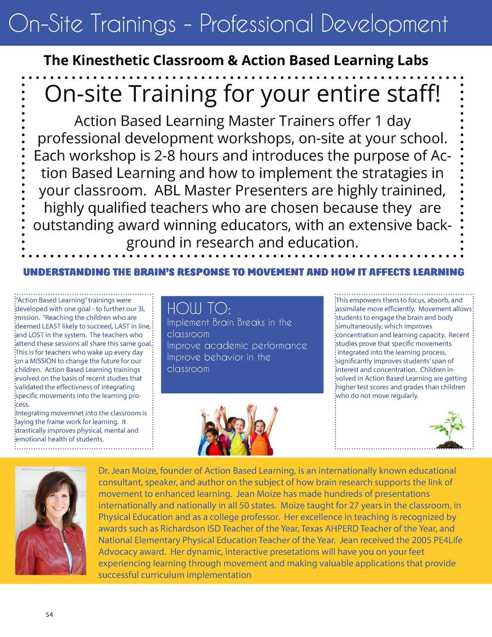 On-Site Trainings - Professional Development The Kinesthetic Classroom   Action Based Learning Labs  On-site Training for ...