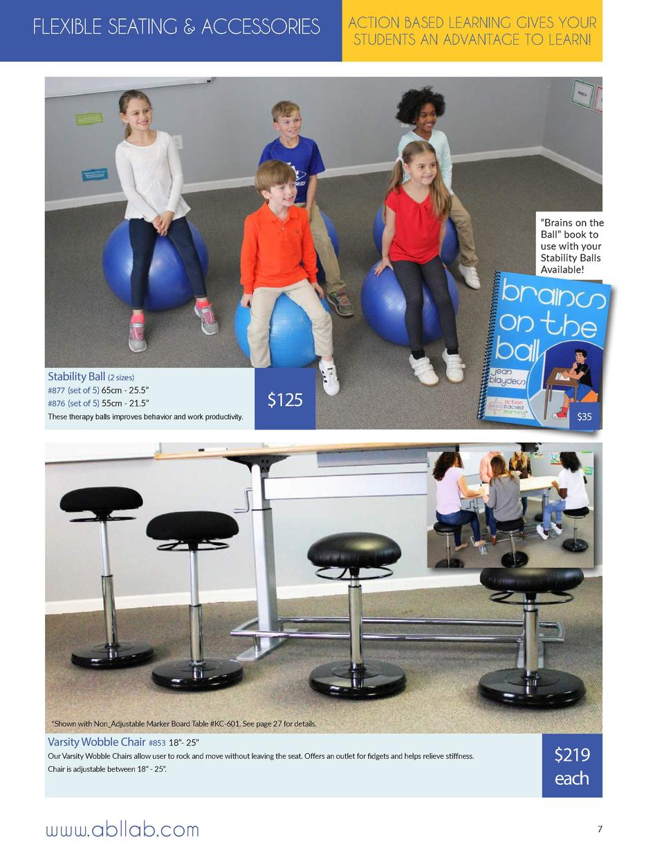 FLEXIBLE SEATING   ACCESSORIES  ACTION BASED LEARNING GIVES YOUR STUDENTS AN ADVANTAGE TO LEARN      Brains on the Ball   ...