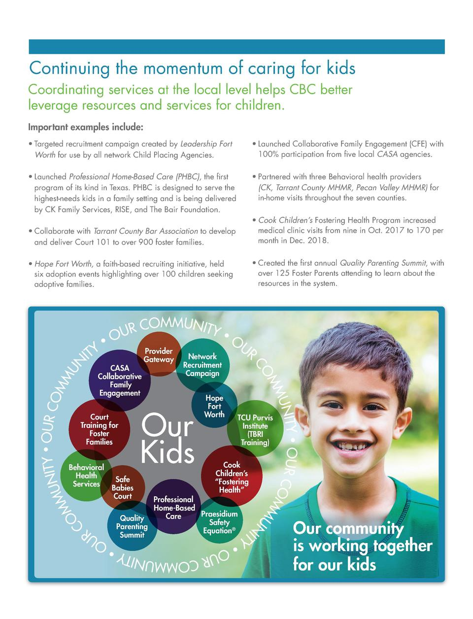 Continuing the momentum of caring for kids Coordinating services at the local level helps CBC better leverage resources an...