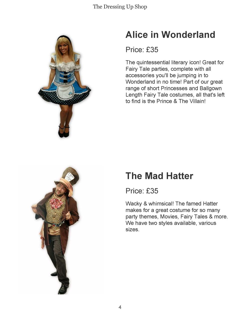 The Dressing Up Shop  Alice in Wonderland Price    35 The quintessential literary icon  Great for Fairy Tale parties, comp...