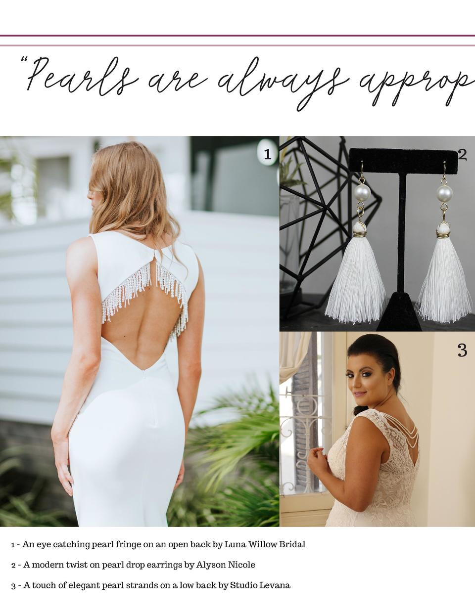 Pearls are always appropr 1  2  3  1 - An eye catching pearl fringe on an open back by Luna Willow Bridal 2 - A modern ...