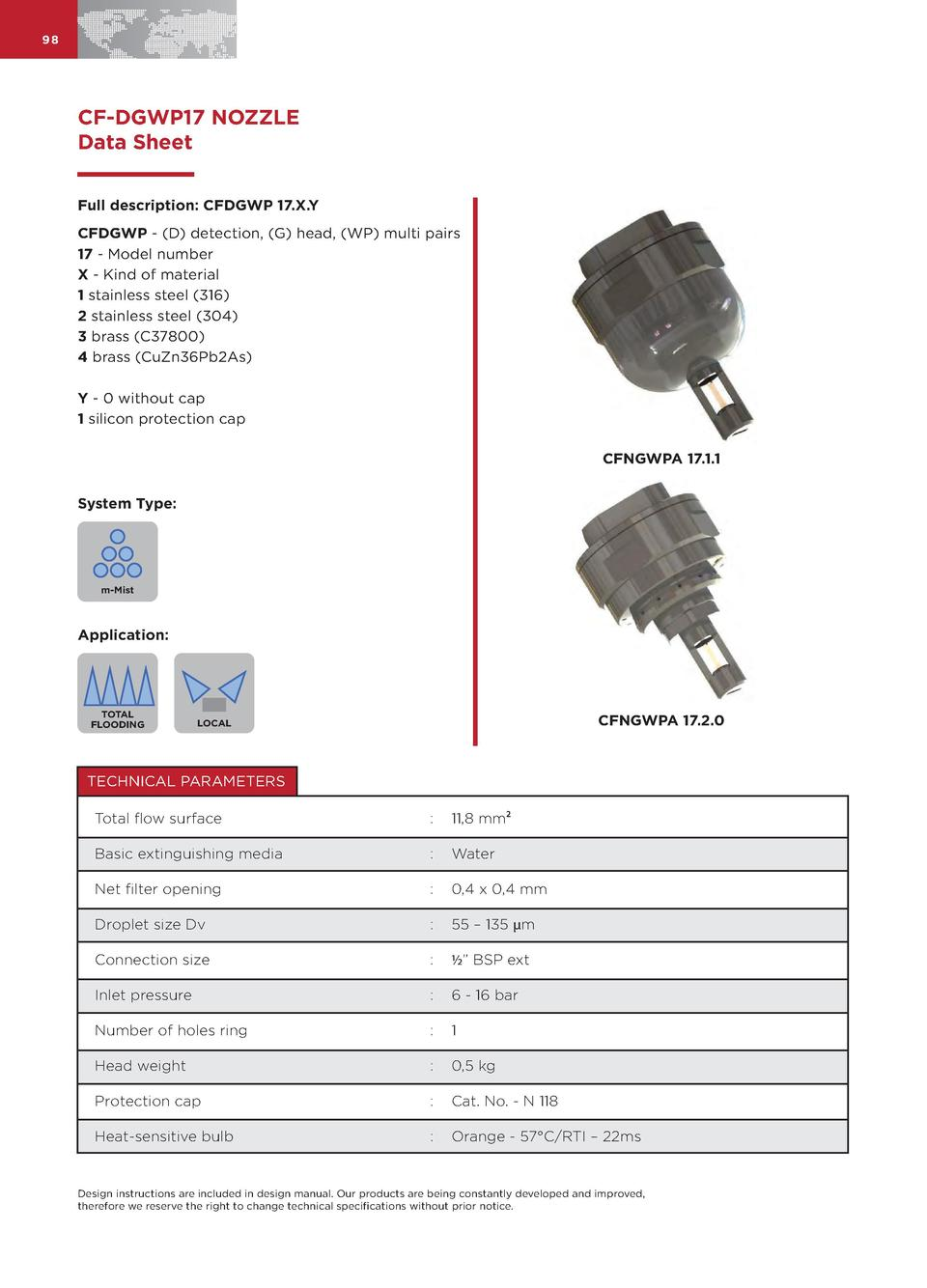 98  CF-DGWP17 NOZZLE Data Sheet Full description  CFDGWP 17.X.Y CFDGWP -  D  detection,  G  head,  WP  multi pairs 17 - Mo...