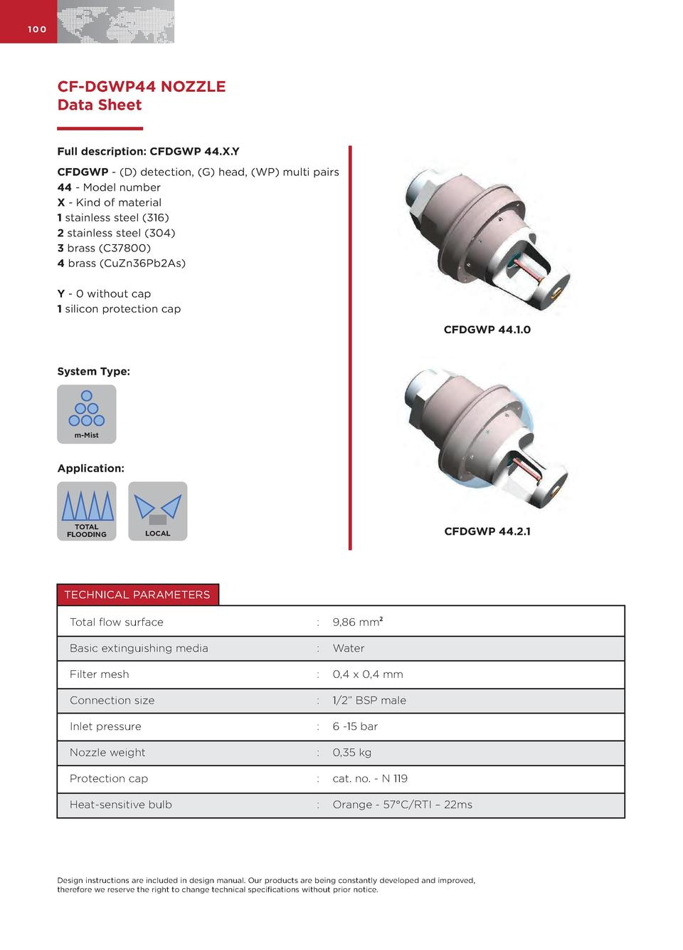 100  CF-DGWP44 NOZZLE Data Sheet Full description  CFDGWP 44.X.Y CFDGWP -  D  detection,  G  head,  WP  multi pairs 44 - M...