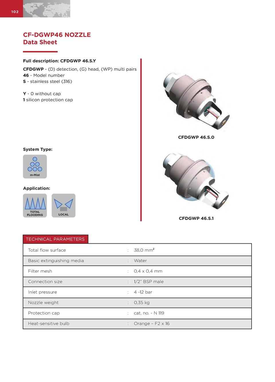 102  CF-DGWP46 NOZZLE Data Sheet Full description  CFDGWP 46.S.Y CFDGWP -  D  detection,  G  head,  WP  multi pairs 46 - M...