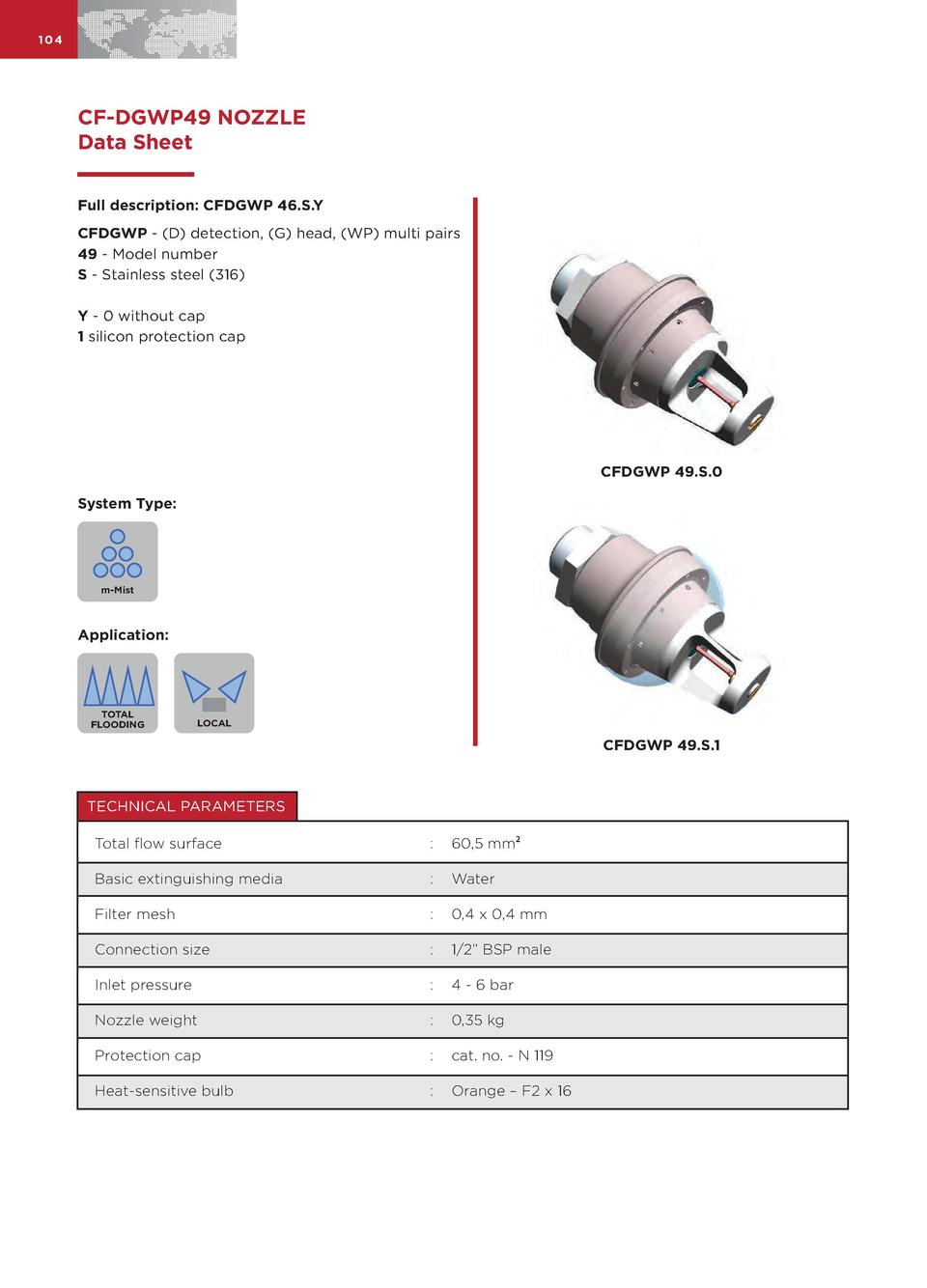 104  CF-DGWP49 NOZZLE Data Sheet Full description  CFDGWP 46.S.Y CFDGWP -  D  detection,  G  head,  WP  multi pairs 49 - M...