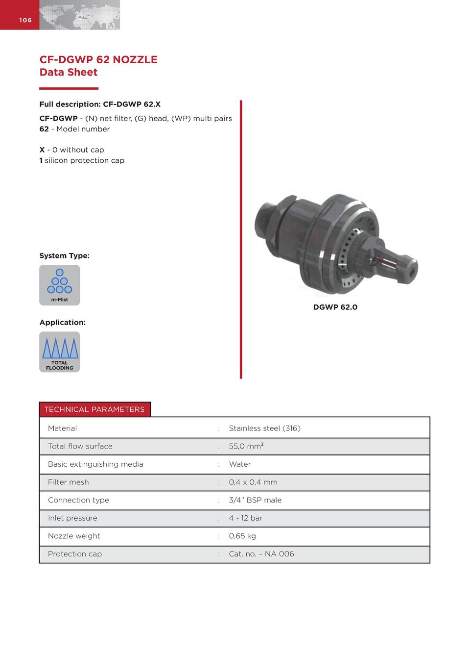 106  CF-DGWP 62 NOZZLE Data Sheet Full description  CF-DGWP 62.X CF-DGWP -  N  net filter,  G  head,  WP  multi pairs 62 -...