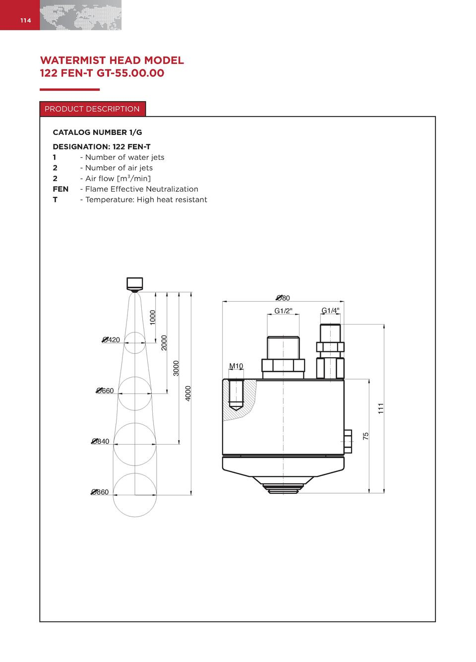 114  WATERMIST HEAD MODEL 122 FEN-T GT-55.00.00 PRODUCT DESCRIPTION CATALOG NUMBER 1 G DESIGNATION  122 FEN-T 1 - Number o...