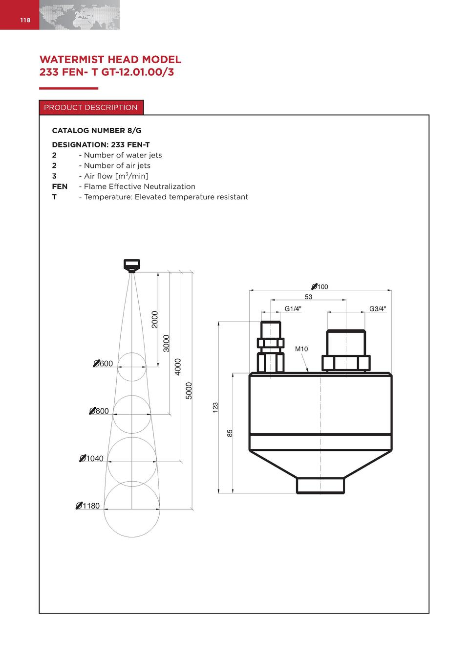 118  WATERMIST HEAD MODEL 233 FEN- T GT-12.01.00 3 PRODUCT DESCRIPTION CATALOG NUMBER 8 G DESIGNATION  233 FEN-T 2 - Numbe...