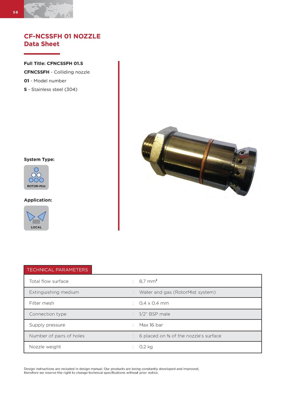 56  CF-NCSSFH 01 NOZZLE Data Sheet Full Title  CFNCSSFH 01.S CFNCSSFH - Colliding nozzle 01 - Model number S - Stainless s...