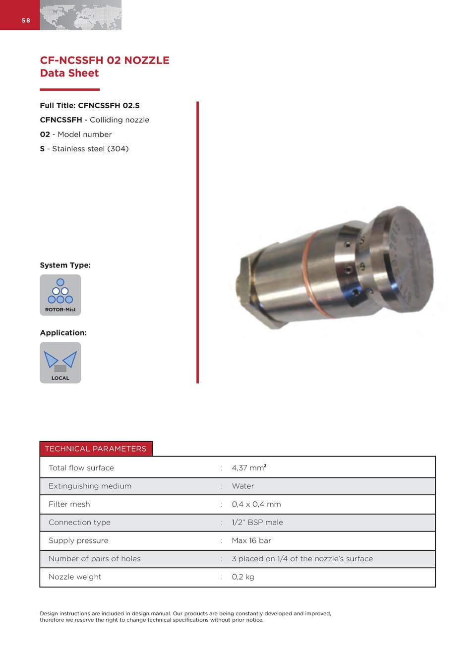 58  CF-NCSSFH 02 NOZZLE Data Sheet Full Title  CFNCSSFH 02.S CFNCSSFH - Colliding nozzle 02 - Model number S - Stainless s...