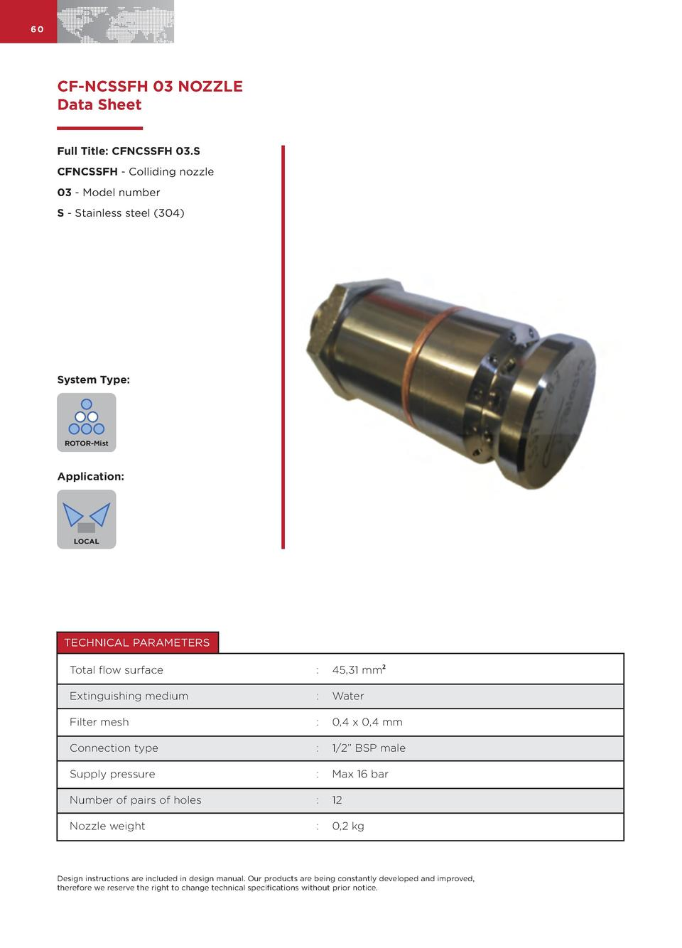 60  CF-NCSSFH 03 NOZZLE Data Sheet Full Title  CFNCSSFH 03.S CFNCSSFH - Colliding nozzle 03 - Model number S - Stainless s...