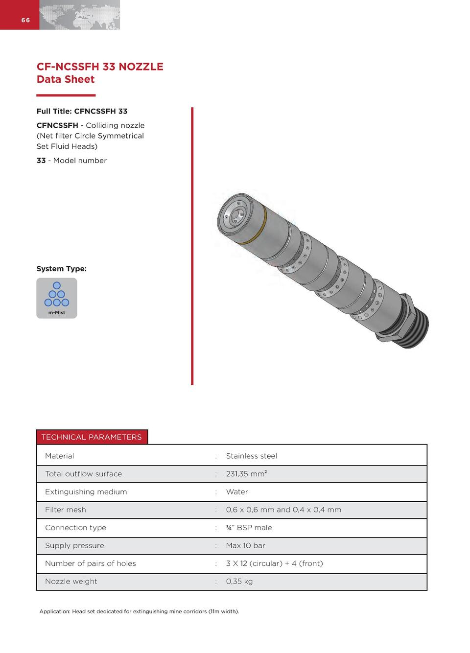 66  CF-NCSSFH 33 NOZZLE Data Sheet Full Title  CFNCSSFH 33 CFNCSSFH - Colliding nozzle  Net filter Circle Symmetrical Set ...