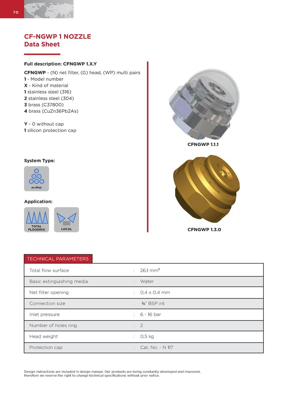 70  CF-NGWP 1 NOZZLE Data Sheet Full description  CFNGWP 1.X.Y CFNGWP -  N  net filter,  G  head,  WP  multi pairs 1 - Mod...