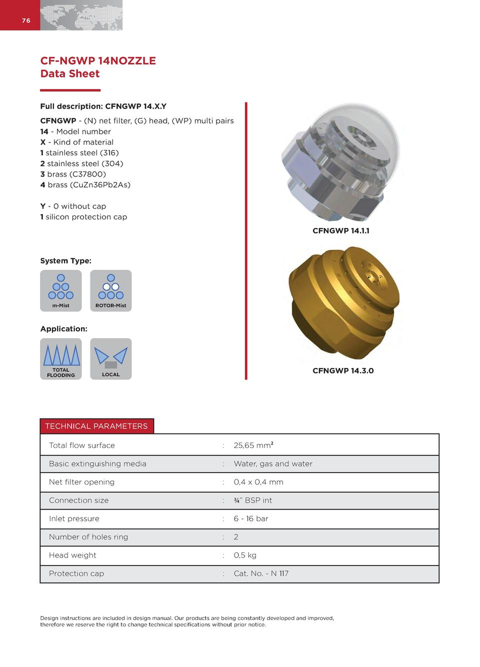 76  CF-NGWP 14NOZZLE Data Sheet Full description  CFNGWP 14.X.Y CFNGWP -  N  net filter,  G  head,  WP  multi pairs 14 - M...