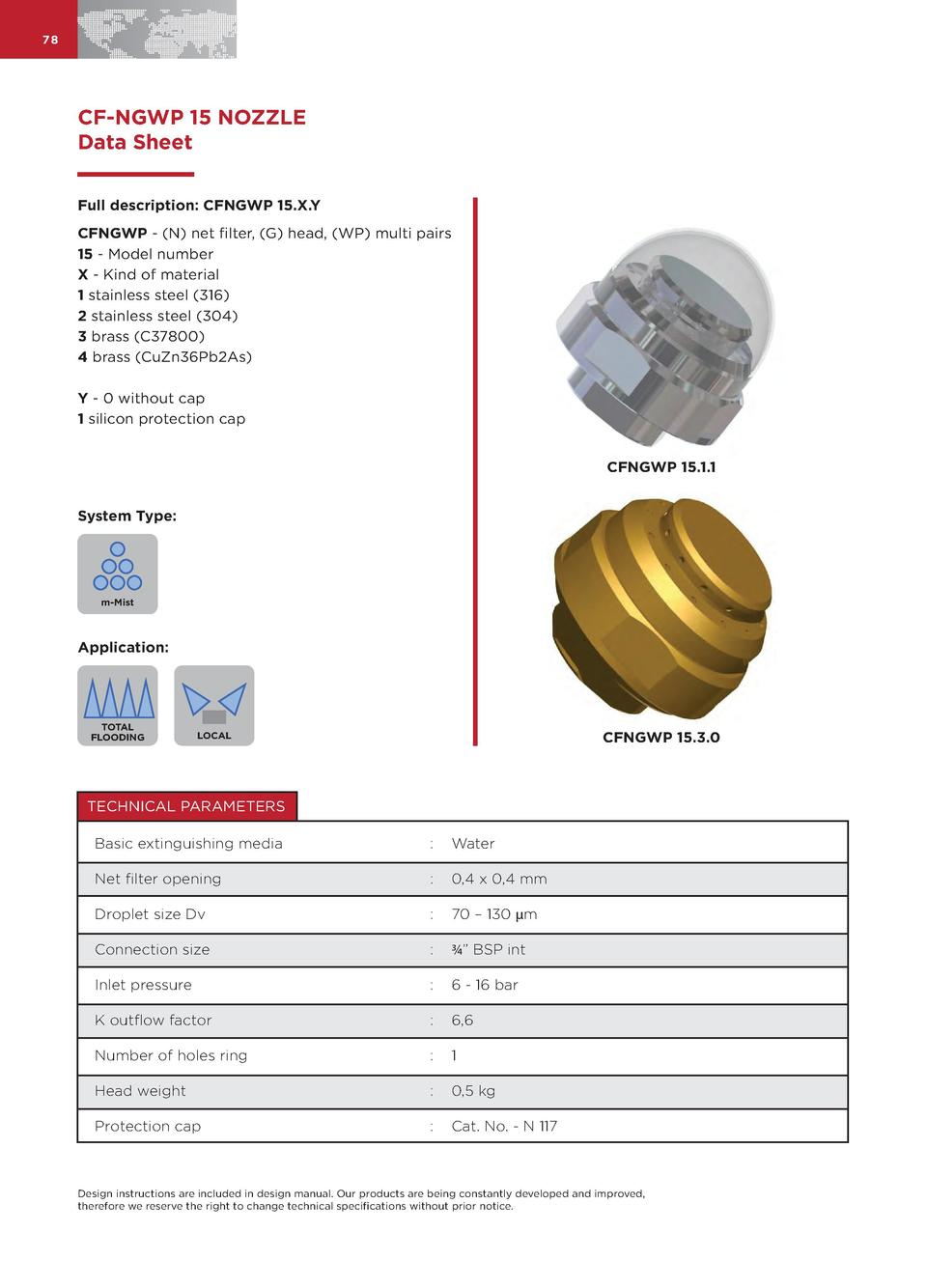 78  CF-NGWP 15 NOZZLE Data Sheet Full description  CFNGWP 15.X.Y CFNGWP -  N  net filter,  G  head,  WP  multi pairs 15 - ...