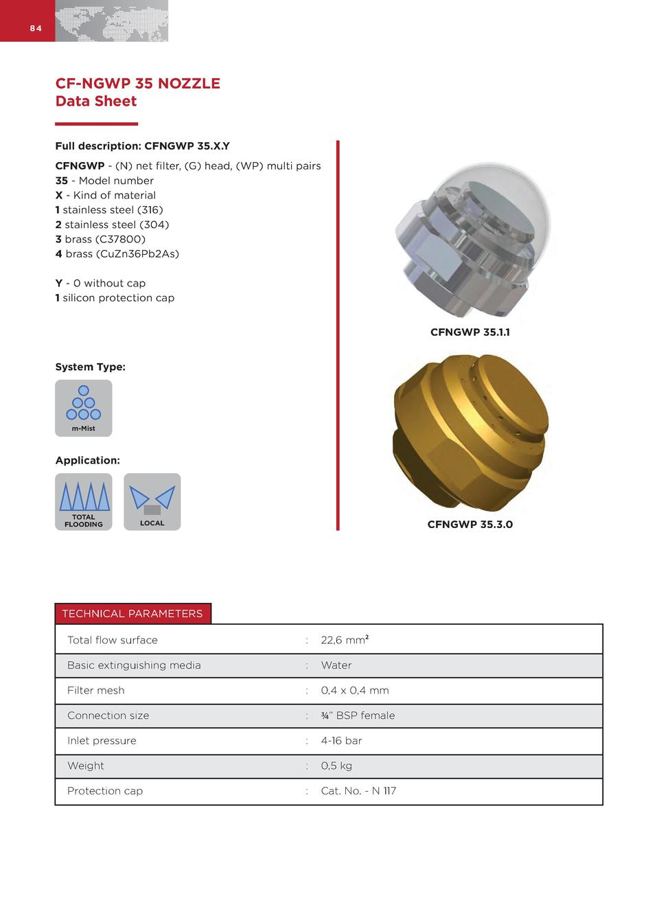 84  CF-NGWP 35 NOZZLE Data Sheet Full description  CFNGWP 35.X.Y CFNGWP -  N  net filter,  G  head,  WP  multi pairs 35 - ...