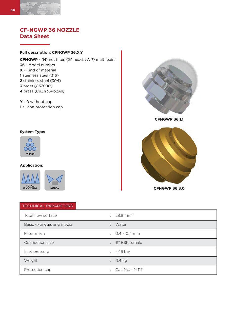 86  CF-NGWP 36 NOZZLE Data Sheet Full description  CFNGWP 36.X.Y CFNGWP -  N  net filter,  G  head,  WP  multi pairs 36 - ...