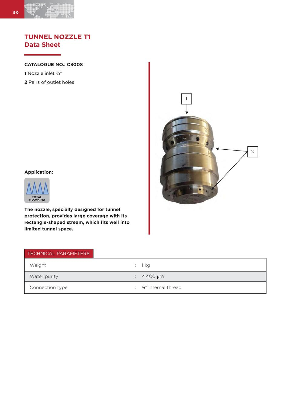 90  TUNNEL NOZZLE T1 Data Sheet CATALOGUE NO.  C3008 1 Nozzle inlet       2 Pairs of outlet holes  1  2  Application   TOT...