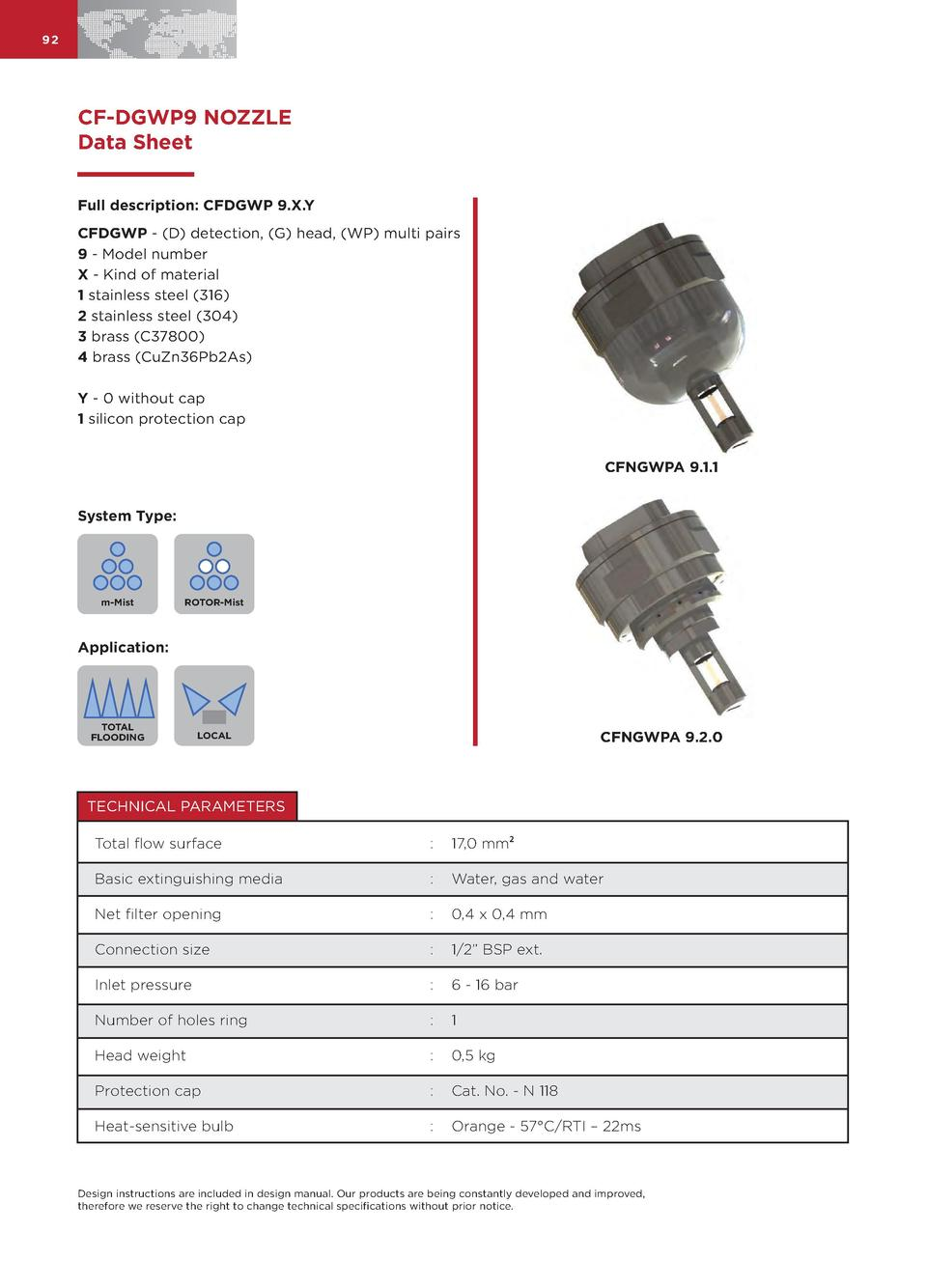 92  CF-DGWP9 NOZZLE Data Sheet Full description  CFDGWP 9.X.Y CFDGWP -  D  detection,  G  head,  WP  multi pairs 9 - Model...