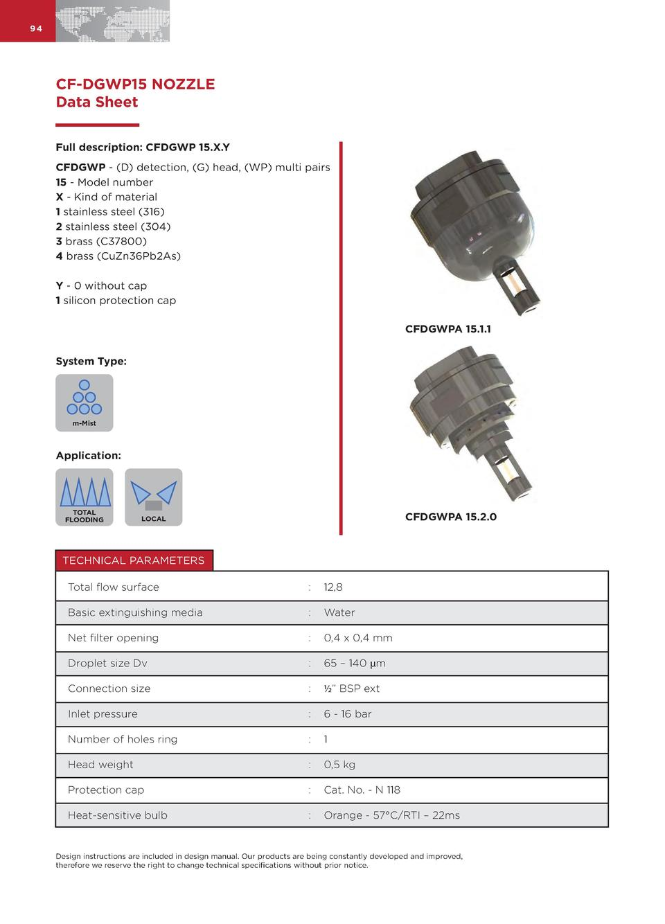 94  CF-DGWP15 NOZZLE Data Sheet Full description  CFDGWP 15.X.Y CFDGWP -  D  detection,  G  head,  WP  multi pairs 15 - Mo...