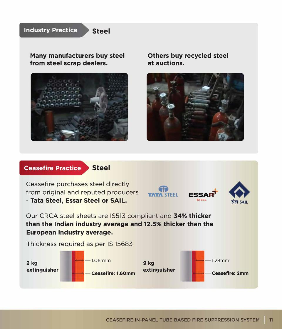 Industry Practice  Steel  Many manufacturers buy steel from steel scrap dealers.  Ceasefire Practice  Others buy recycled ...