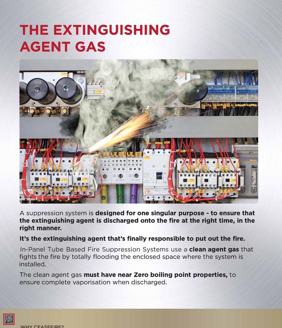 THE EXTINGUISHING AGENT GAS  A suppression system is designed for one singular purpose - to ensure that the extinguishing ...