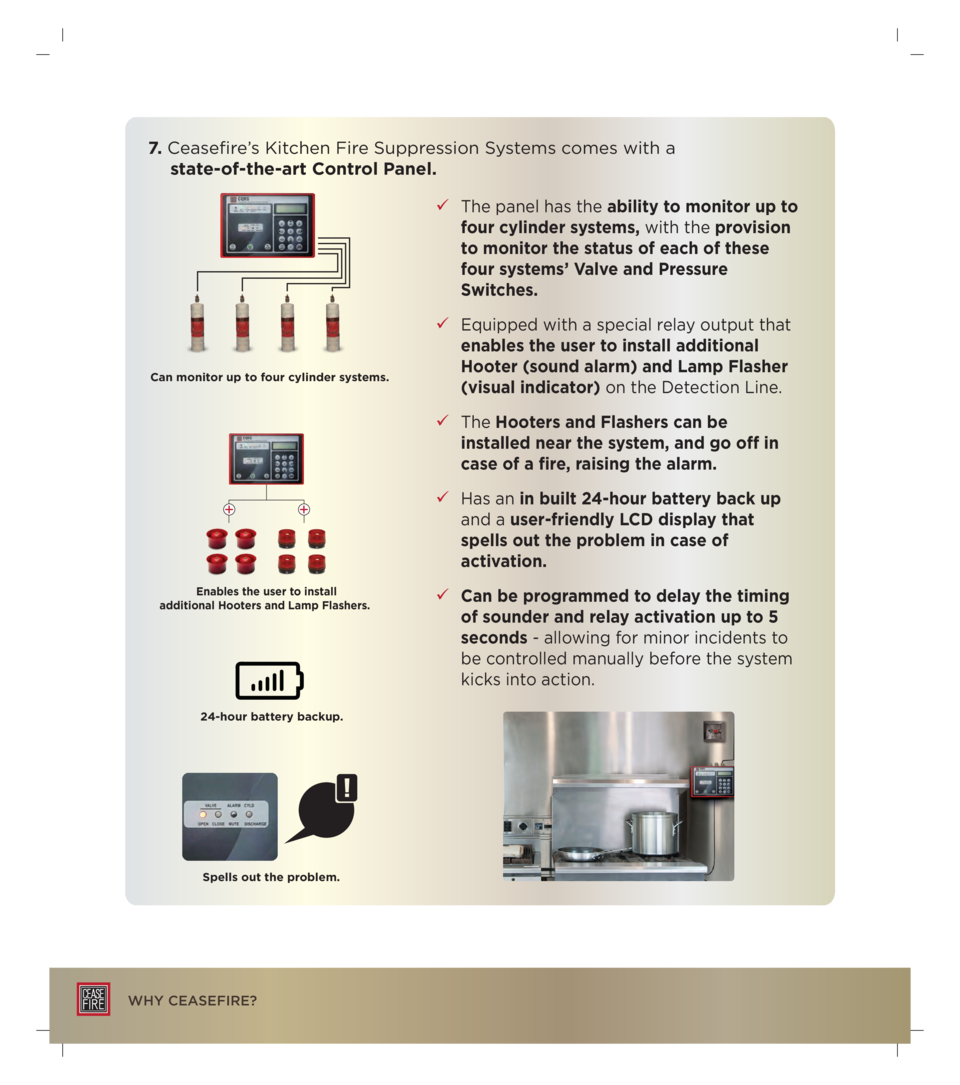 7. Ceasefire   s Kitchen Fire Suppression Systems comes with a state-of-the-art Control Panel.     The panel has the abili...