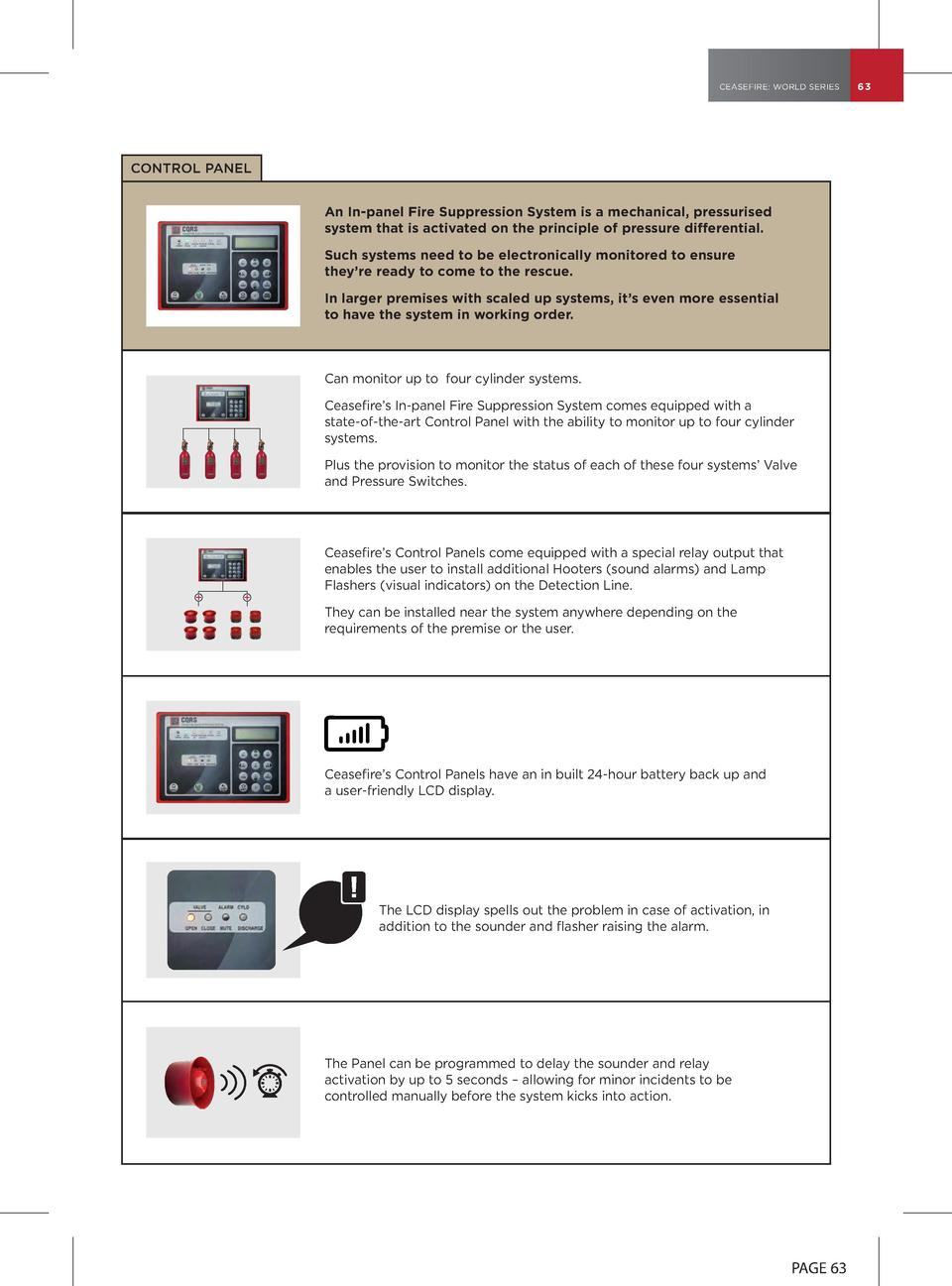 CEASEFIRE  WORLD SERIES  CONTROL PANEL An In-panel Fire Suppression System is a mechanical, pressurised system that is act...