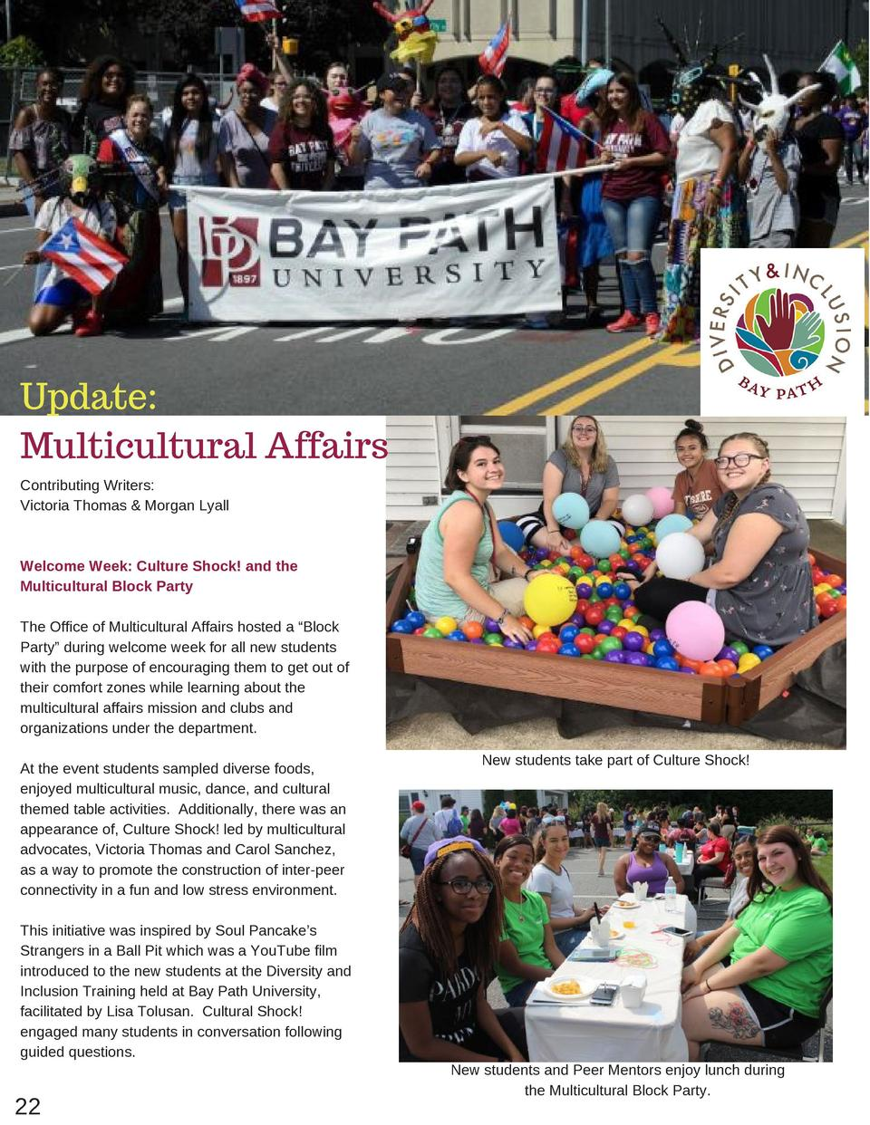 Update  Multicultural Affairs Contributing Writers  Victoria Thomas   Morgan Lyall  Welcome Week  Culture Shock  and the M...
