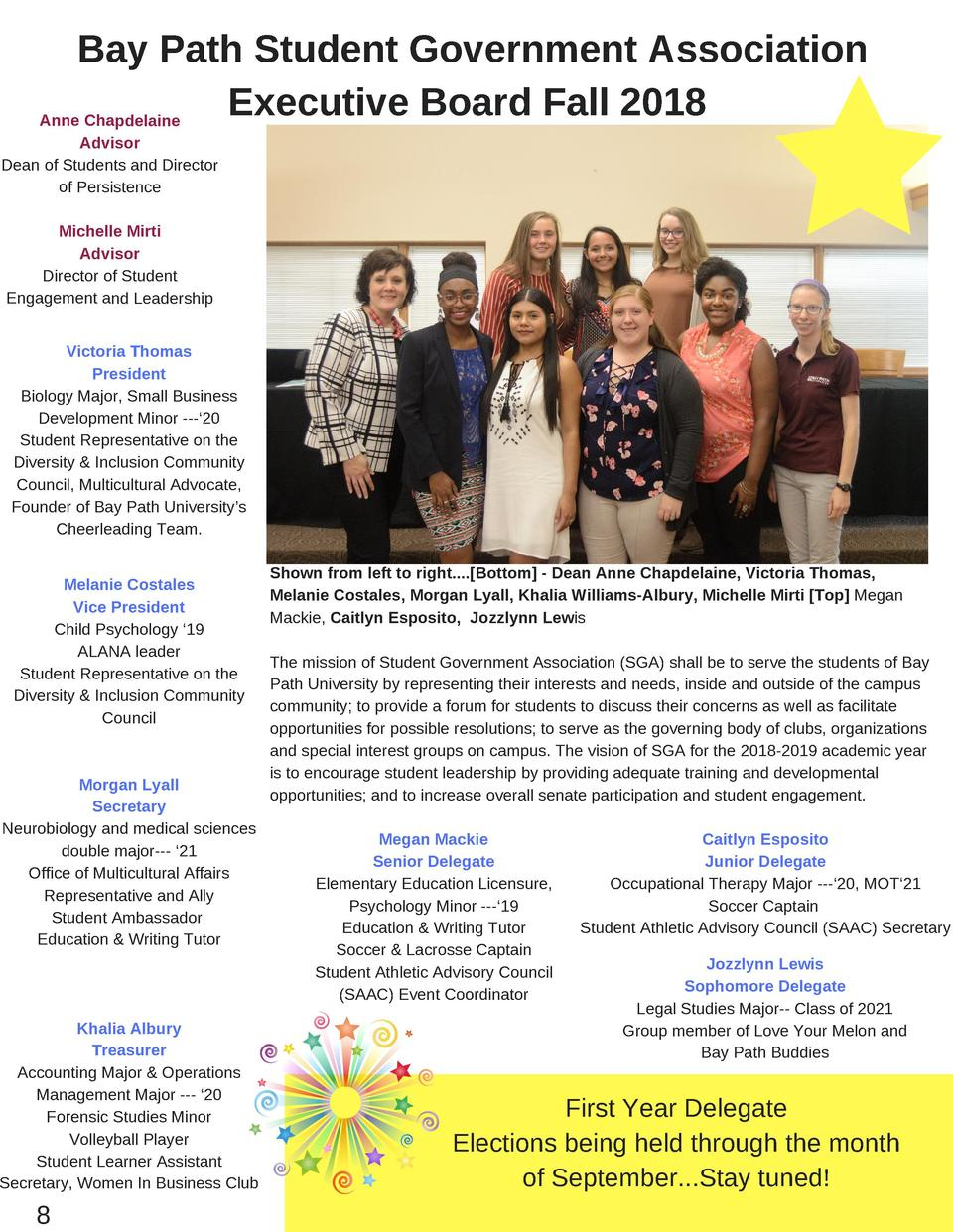 Bay Path Student Government Association Executive Board Fall 2018 Anne Chapdelaine Advisor Dean of Students and Director o...